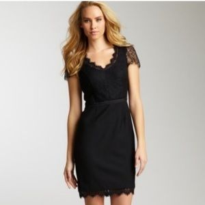 Rebacca Taylor | black lace scoopneck combo dress